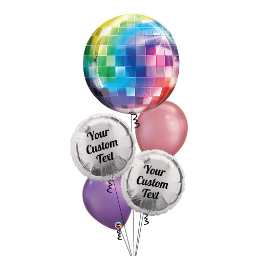 Personalised Disco Ball Chrome Balloons Bouquet