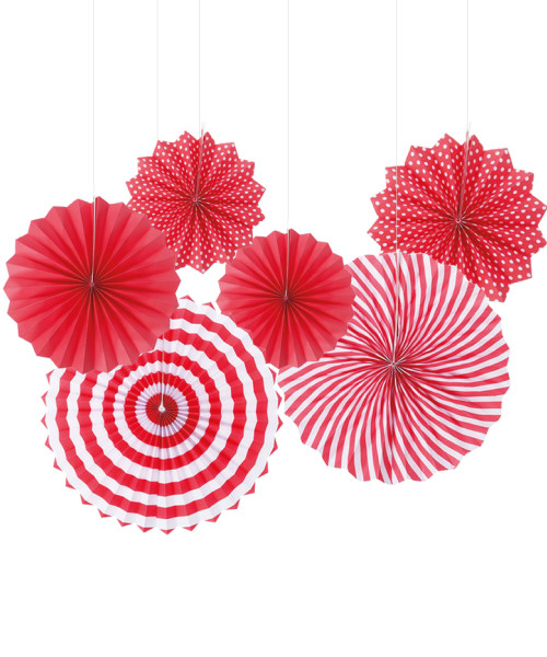 Assorted Patterns Paper Fans Set (6pcs) - Red