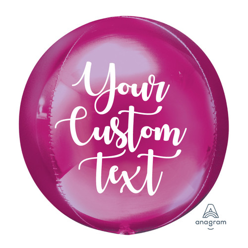 "16""/41cm Personalised Orbz Sphere Shaped Balloon - Bright Pink"