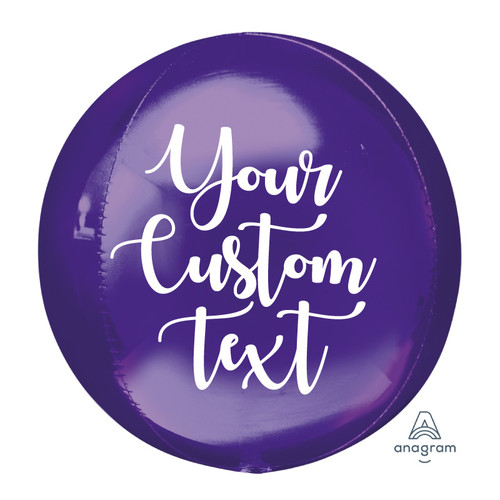 "16""/41cm Personalised Orbz Sphere Shaped Balloon - Purple"