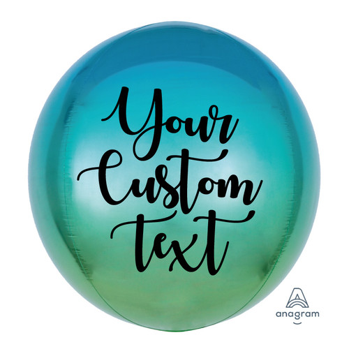 "16""/41cm Personalised Orbz Sphere Shaped Balloon - Ombré Blue & Green"