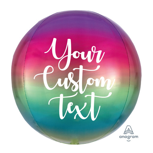 "16""/41cm Personalised Orbz Sphere Shaped Balloon - Ombré Rainbow"