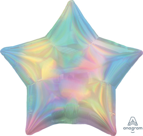 "19"" Iridescent Pastel Rainbow Star Foil Balloon"