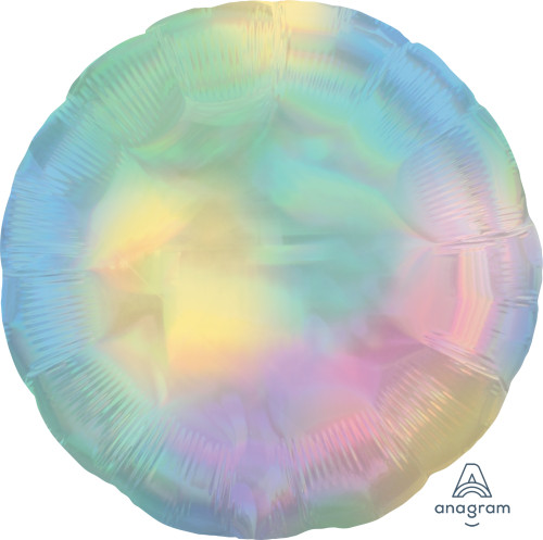"18"" Iridescent Pastel Rainbow Circle Foil Balloon"