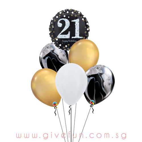 Marblelous Happy 21st Birthday Balloons Bouquet