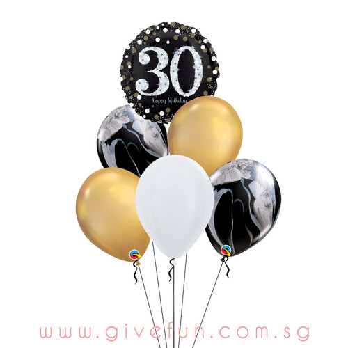 Marblelous Happy 30th Birthday Balloons Bouquet