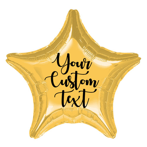 "19"" Personalised Star Foil Balloon - Metallic Gold"