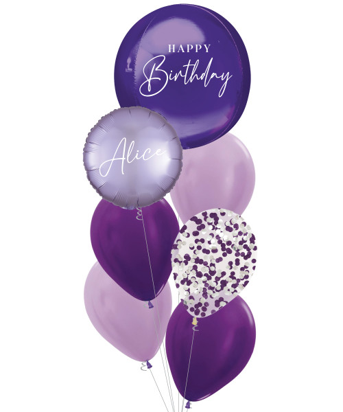 [Oliver Orbz] Personalised Oliver Orbz Balloons Bouquet - Purple