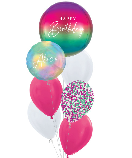 [Oliver Orbz] Personalised Oliver Orbz Balloons Bouquet - Ombré Rainbow