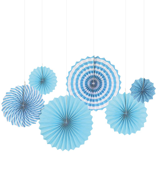 Assorted Patterns Paper Fans Set (6pcs) - Blue
