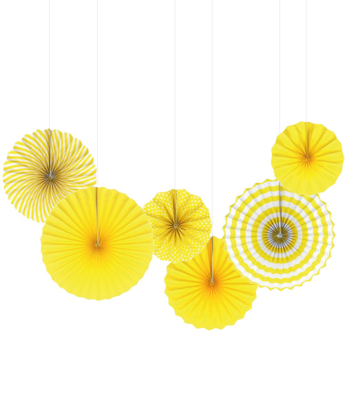Assorted Patterns Paper Fans Set (6pcs) - Yellow