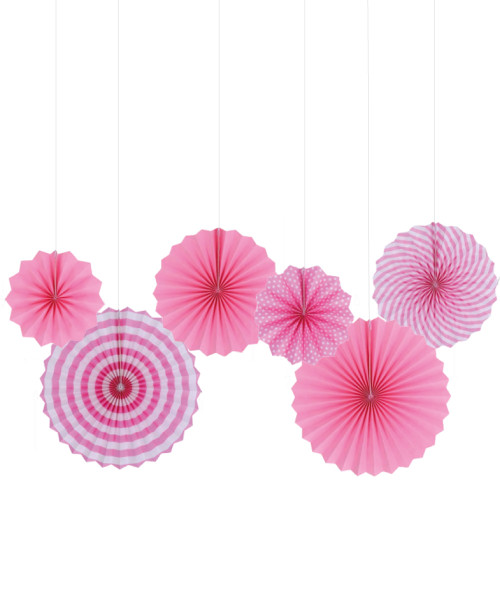 Assorted Patterns Paper Fans Set (6pcs) - Pink