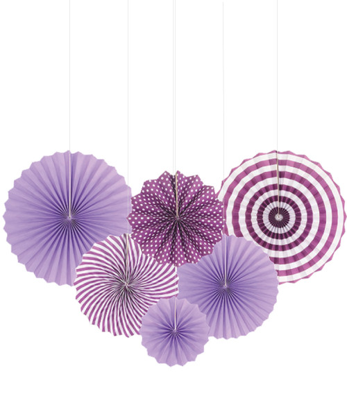 Assorted Patterns Paper Fans Set (6pcs) - Purple