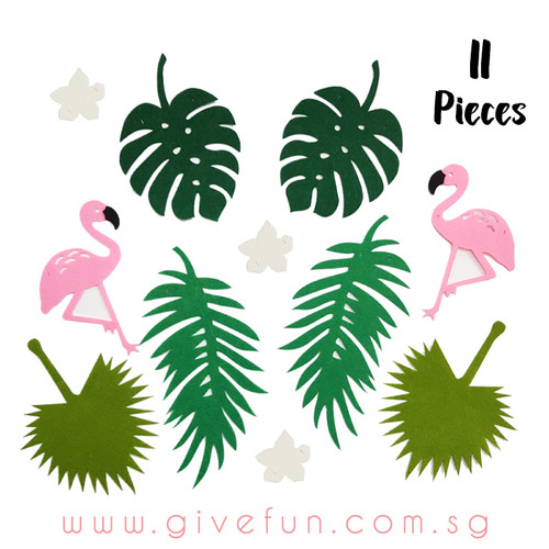 Hawaiian Tropical Garland (2.5meter) - Flamingo & Palm Leaves