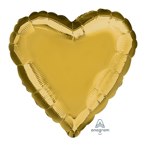 "28"" Giant Heart Foil Balloon - Metallic Gold"