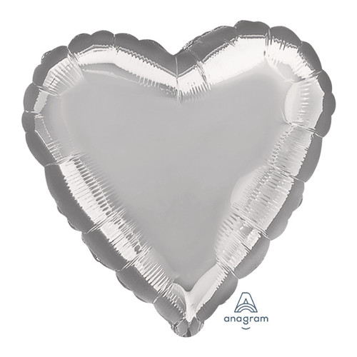 "32"" Giant Heart Foil Balloon - Metallic Silver"