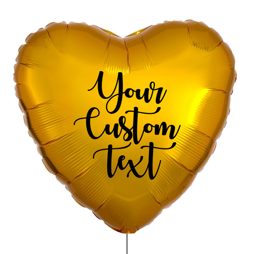 "28"" Personalised Giant Heart Foil Balloon - Metallic Gold"