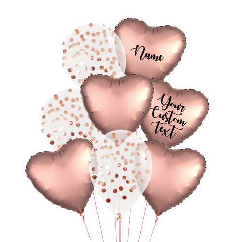 Personalised Satin Luxe Rose Gold Everything Balloons Bouquet