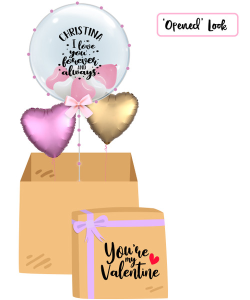 "[My Love My Valentine Balloon Surprise Box] Personalised Name I Love You Forever & Always 24"" Crystal Clear Transparent Balloon"