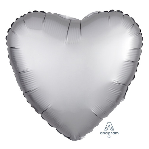 "18"" Satin Luxe Heart Foil Balloon - Platinum"