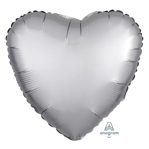 """18"""" Satin Luxe Heart Foil Balloon - Platinum"""