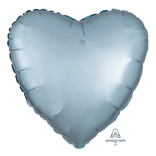 "18"" Satin Luxe Heart Foil Balloon - Steel Blue"