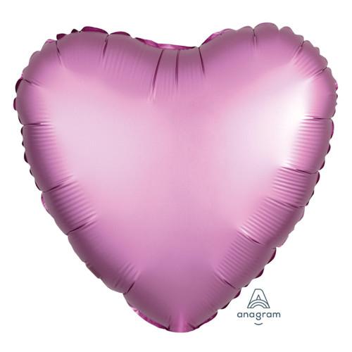 """18"""" Satin Luxe Heart Foil Balloon - Flamingo"""