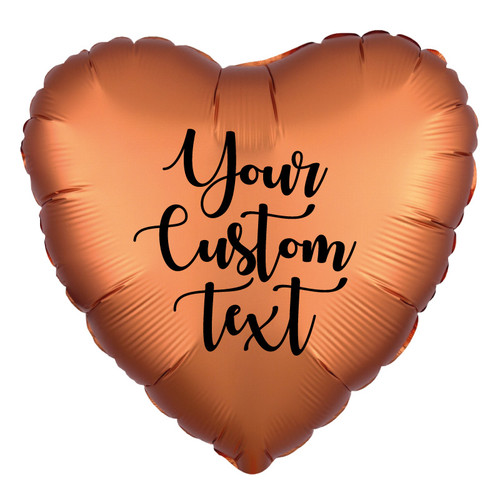 "18"" Personalised Satin Luxe Heart Foil Balloon - Amber"