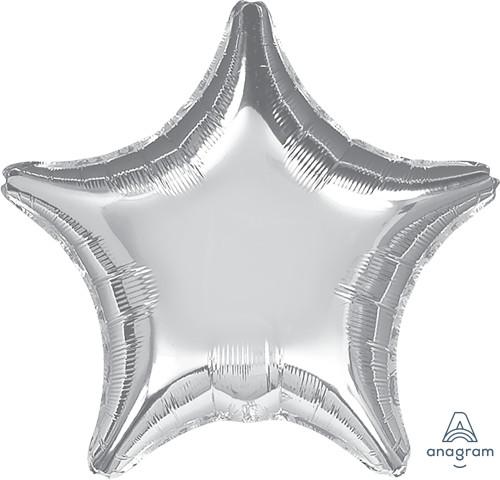 "19"" Star Foil Balloon - Metallic Silver"