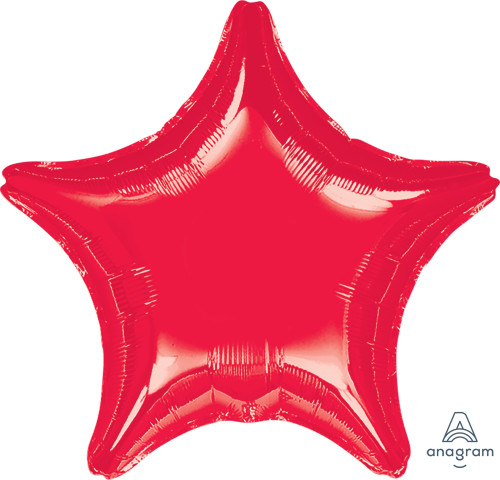"19"" Star Foil Balloon - Metallic Red"