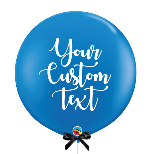"36"" Personalised Jumbo Perfectly Round Latex Balloon - Dark Blue"