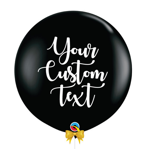 "36"" Personalised Jumbo Perfectly Round Latex Balloon - Black"
