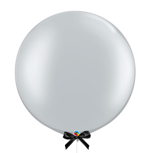 "30"" Giant Metallic Perfectly Round Latex Balloon - Silver"