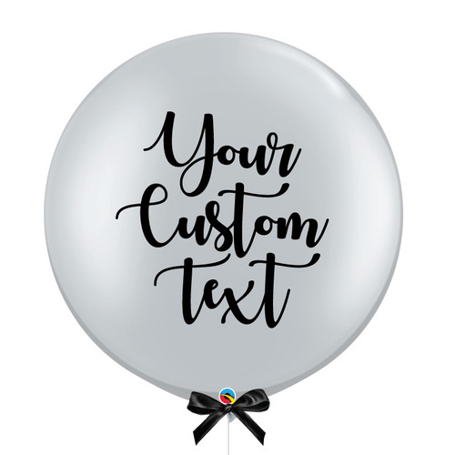 30'' Personalised Giant Perfectly Round Metallic Latex Balloon - Silver
