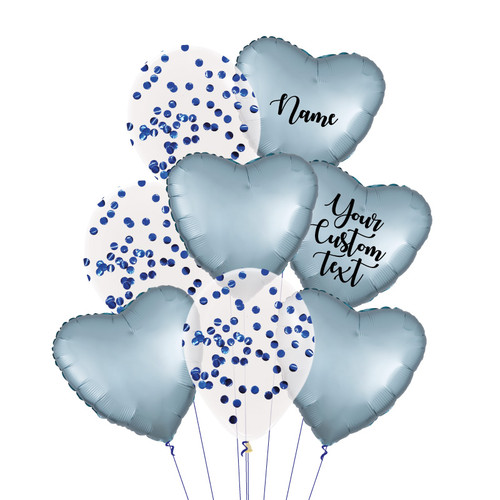 Personalised Satin Luxe Steel Blue Everything Balloons Bouquet