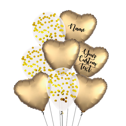 Personalised Satin Luxe Gold Sateen Everything Balloons Bouquet