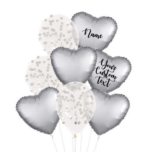 Personalised Satin Luxe Platinum Silver Everything Balloons Bouquet