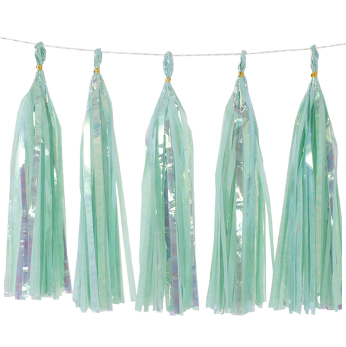 Holographic Candy Tassel Garlands DIY Kit (5 Tassels) - All Candy Tiffany Blue