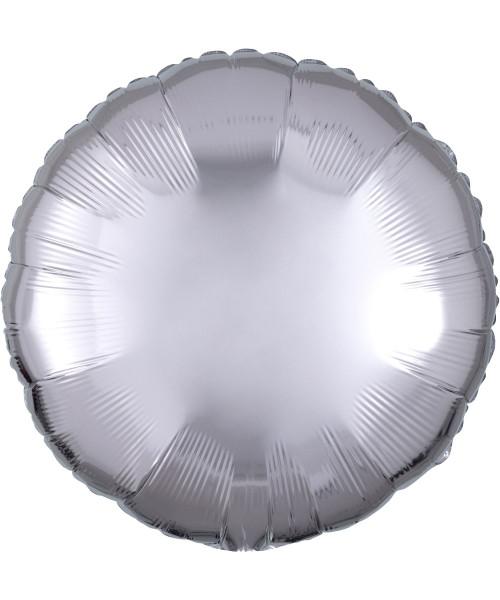 """17"""" Round Foil Balloon - Metallic Silver"""