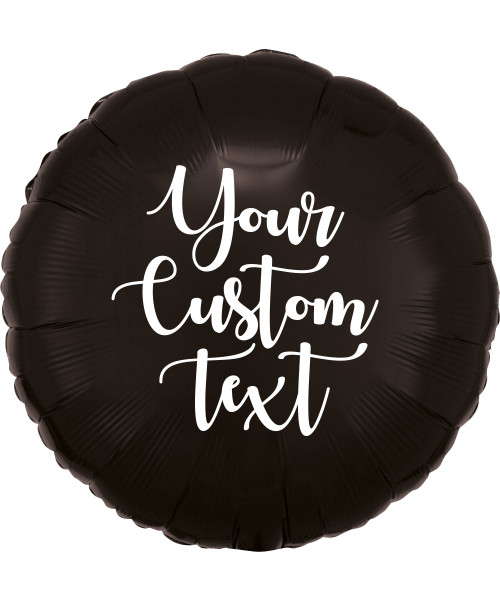 "17"" Personalised Round Foil Balloon - Metallic Black"