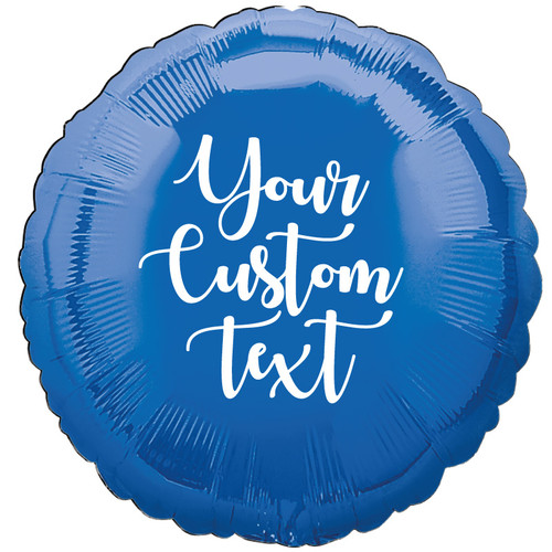 "17"" Personalised Round Foil Balloon - Metallic Dark Blue"