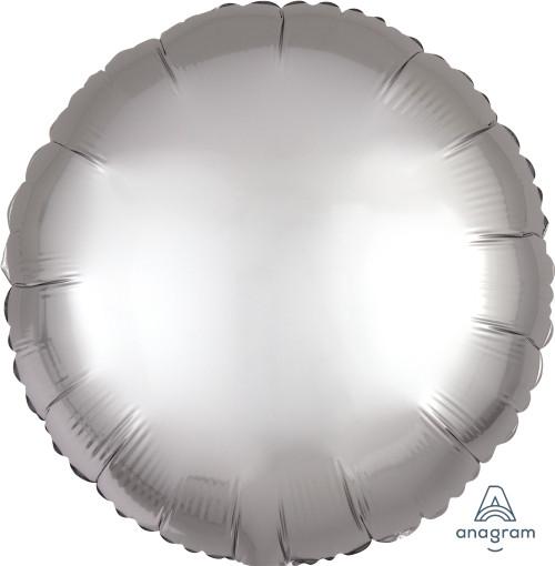 "17"" Satin Luxe Round Foil Balloon - Platinum"