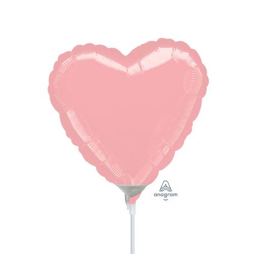 "4""/10cm Mini Heart Foil Balloons - Pastel Pink"