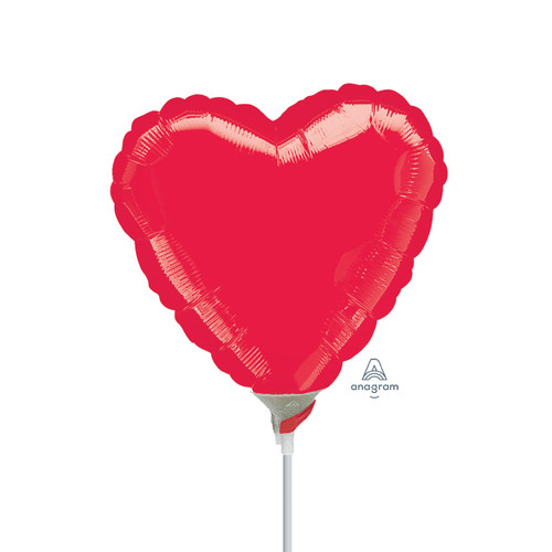 "4""/10cm Mini Heart Foil Balloon - Metallic Red"