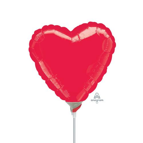 "4""/10cm Mini Heart Foil Balloon - Metallic Red"