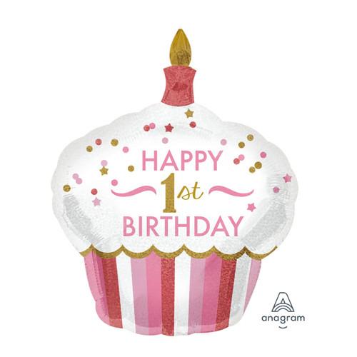 1st Birthday Cupcake Girl Foil Balloon (29inch)