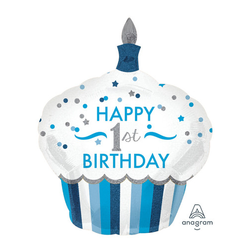 1st Birthday Cupcake Boy Foil Balloon (29inch)