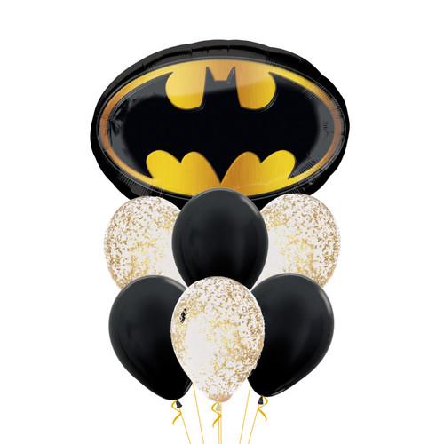 Batman Emblem Confetti Balloons Bouquet