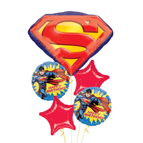 Superman Emblem Happy Birthday Balloons Bouquet