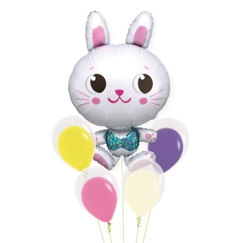 [Animal] Funny Bunny Colourful Balloons Bouquet